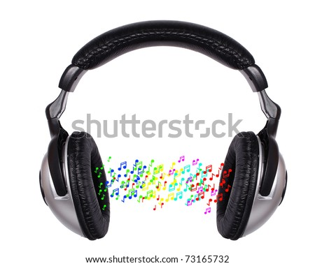 Image of headphones and sound wave isolated on a white background