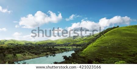 Image of hills panorama landcape on sumba island, indonesia - stock photo