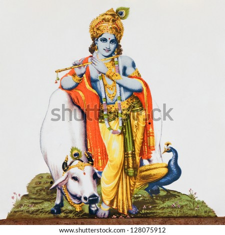 image of hindu god Krishna playing flute on antique ceramic tile - stock photo