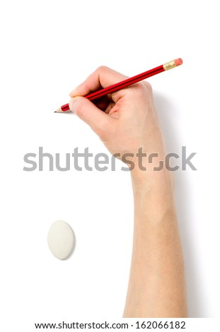 Image of human hand with pencil and eraser on white background