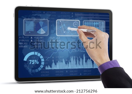 Image of human hand with pointer over business document in touchscreen
