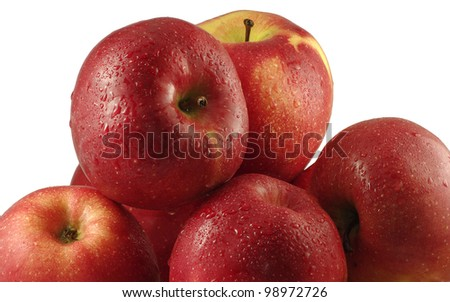 image of isolated pile of apples on a white background - stock photo