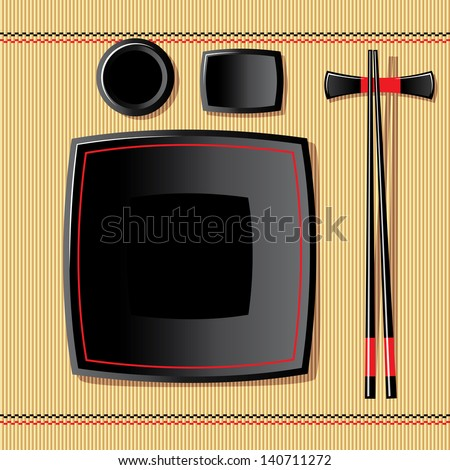 image of japanese tableware on a bamboo tablecloth - stock photo