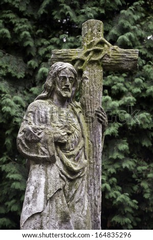 Image of Jesus Christ carrying the Cross. - stock photo