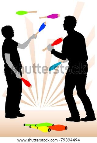 image of jugglers on representation - stock photo