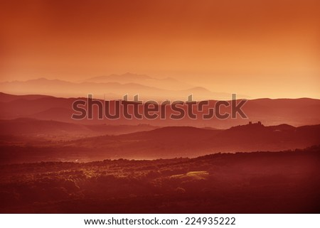 Image of landscape near Roccastrada Tuscany Italy at sunset in autumn - stock photo
