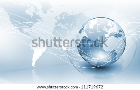 Image of light blue planet Earth against technology background - stock photo