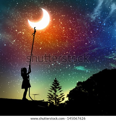 Image of little girl pulling moon against starry night landscape - stock photo