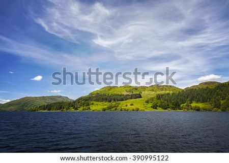 Image of Loch Katrine in the Scottish highlands.  - stock photo