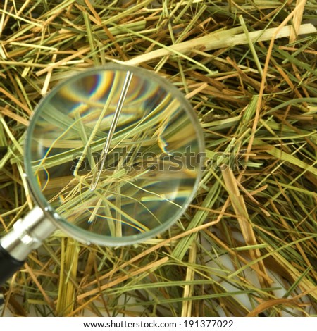image of loops and needles in the hay closeup - stock photo