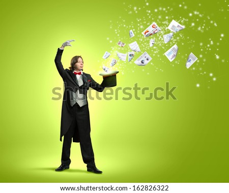 Image of magician and paper documents flying out of hat