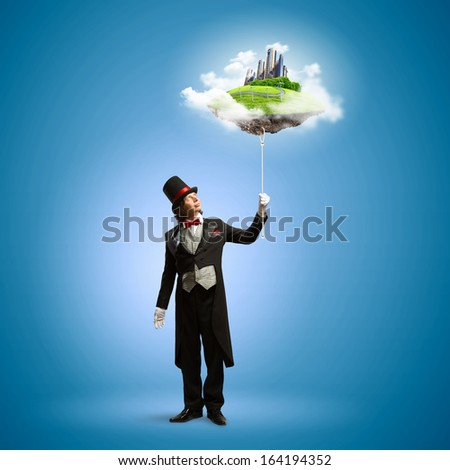 Image of magician in hat holding globe. Ecology concept