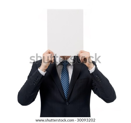 Image of male hand holding blank paper while advertising something