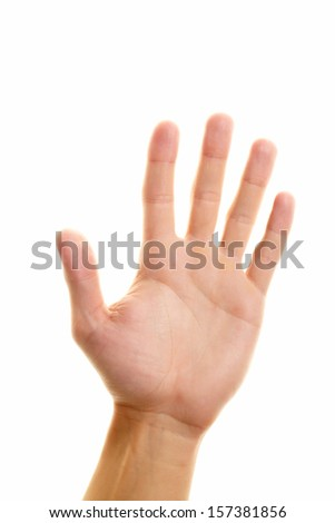 Image of male hand showing five fingers on a white background