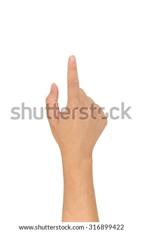 image of male hand use forefinger touching screen isolated on white background.
