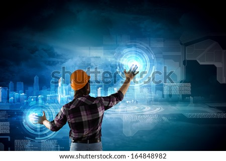 Image of man builder drawing project sketch - stock photo
