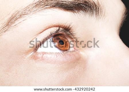 Image of man's brown eye close up. - stock photo