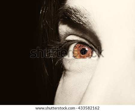 Image of man's vintage eye close up. - stock photo
