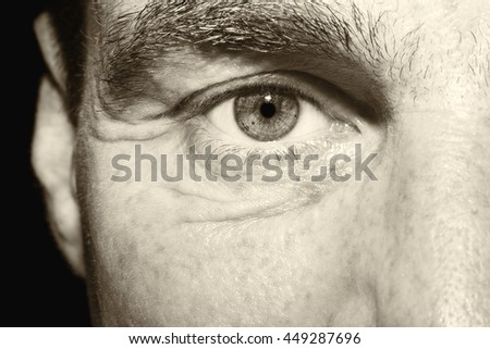 Image of man's vintage eye close up.