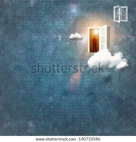 Image of man silhouette standing in doorway - stock photo