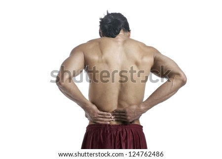 Image of man suffering lower back pain against white background