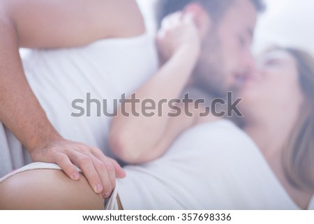 Image of married couple in love having fun - stock photo