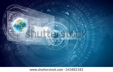 Image of media screen with icons. innovative technologies. Elements of this image are furnished by NASA - stock photo