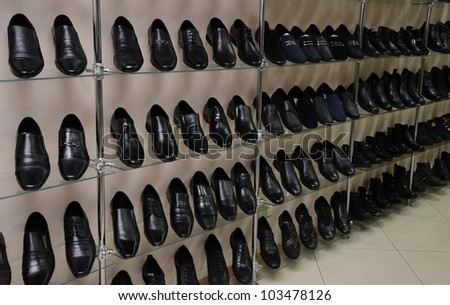 Image of men's shoe shop - stock photo