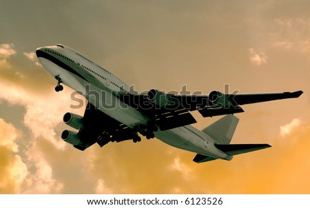 Image Of Modern jet Liner Departing Los Angeles - stock photo