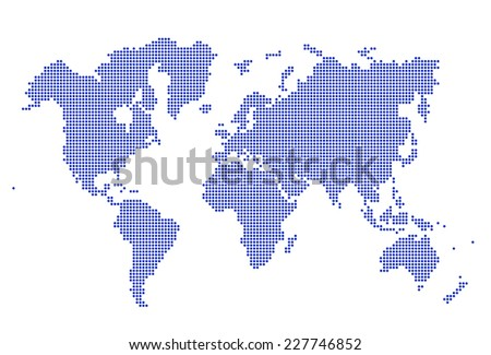 Image of modern optimally dotted world map illustration - stock photo