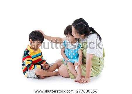 Image of mother with two little asian (thai) children (full body), daughter sitting on lap, son feel bad, mom comforting. Great parenting image. Problems in the family. Isolated on white background - stock photo