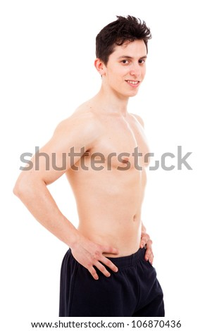 Image of muscle man posing, isolated on white