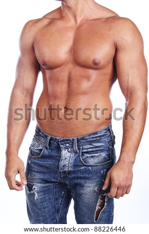 Image of muscular bodybuilder posing, isolated on white - stock photo