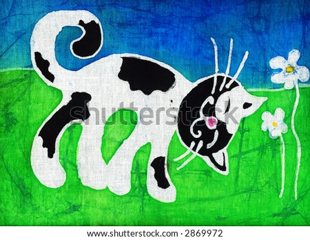 Image of my artwork with a spotty cat - stock photo