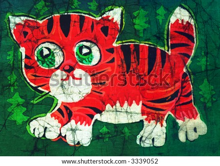 Image of my artwork with a tiger cub - stock photo