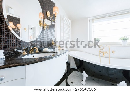 Luxury modern en suite bathroom with marble finish stock photo - Marble Bathroom Stock Images Royalty Free Images