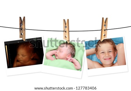 Image of newborn baby like 3D ultrasound and same baby 7 days old and 10 years old. - stock photo