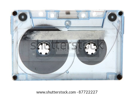 Image of obsolete audio tape isolated on white background