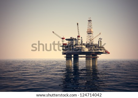 Image of oil platform while cloudless day. - stock photo