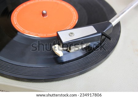 image of old record player, selective focus  - stock photo