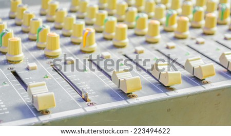image of old sound mixer panel .