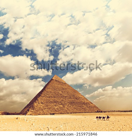 Image of one of the pyramids in the large complex in Cairo, Egypt.  - stock photo