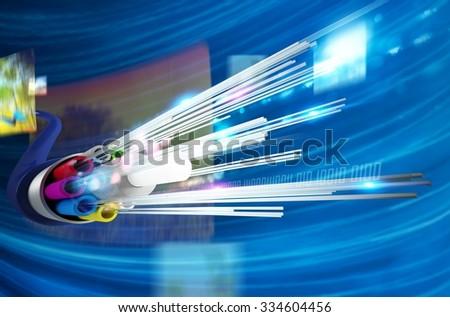 Image of optical fiber with multimedia background - stock photo