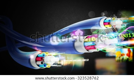 Image of optical fibers with binary codes - stock photo