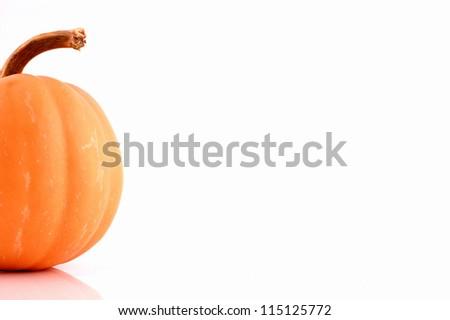 image of orange pumpkin over white background - stock photo
