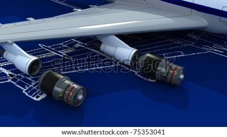 Image of passenger airplane and engineering blueprint with jet engines