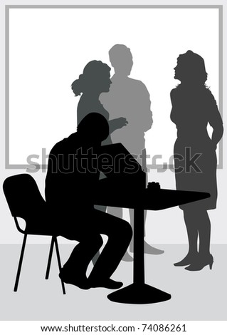 image of people in office of table - stock photo