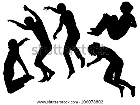 image of people involved in parkour - stock photo