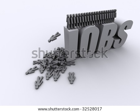 image of people jumping from the word jobs a metaphor for mass unemployment - stock photo