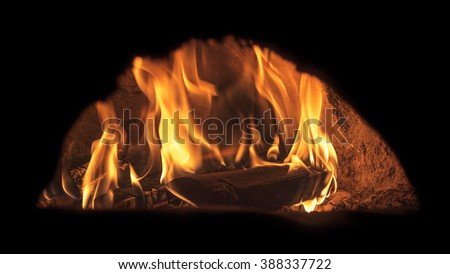 Image of pizza oven with fire, long exposure